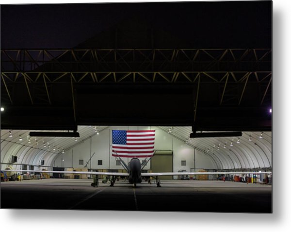 Us Air Force Eq 4 Global Hawk Assigned To The 380th Air Expeditionary Wing Await Routine Maintenance Metal Print