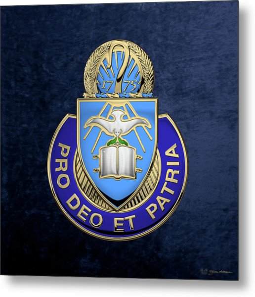 U. S. Army Chaplain Corps - Regimental Insignia Over Blue Velvet Metal Print