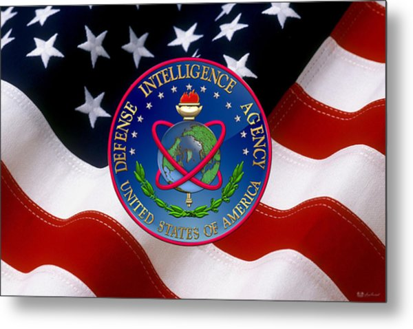 U. S. Defense Intelligence Agency - D I A Emblem Over Flag Metal Print
