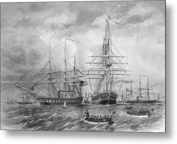 U.s. Naval Fleet During The Civil War Metal Print