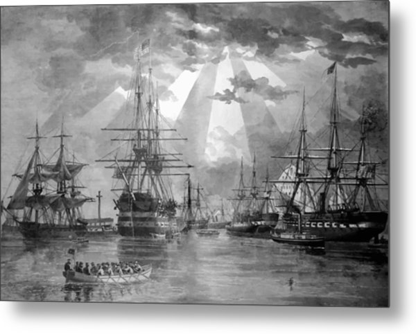 U.s. Naval Ships At The Brooklyn Navy Yard Metal Print