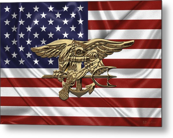 U.s. Navy Seals Trident Over U.s. Flag Metal Print