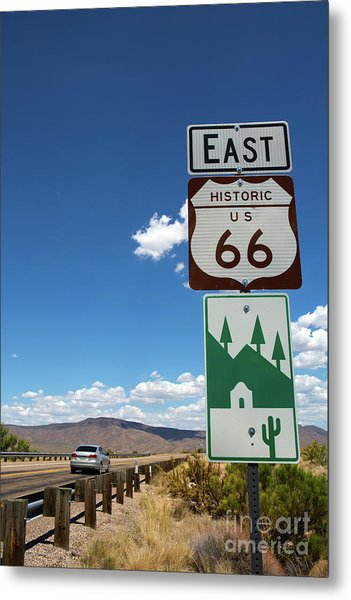 Metal Print featuring the photograph Us Route 66 Sign Arizona by Steven Frame