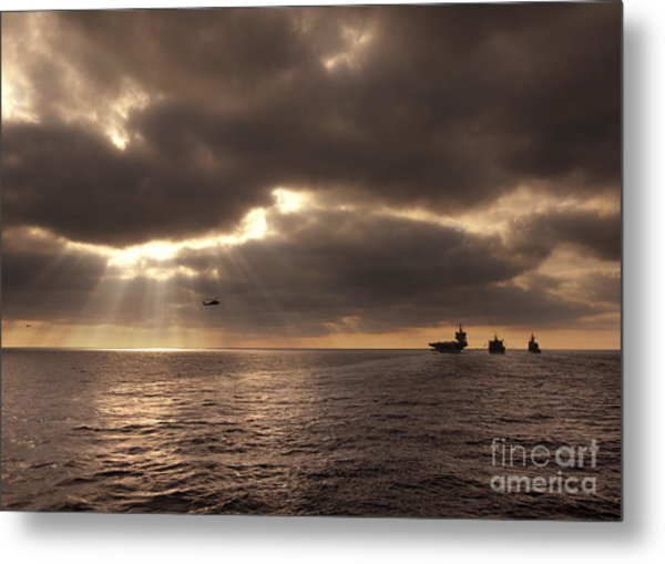 U.s. Ships Participate In An Replenishment At Sea Metal Print