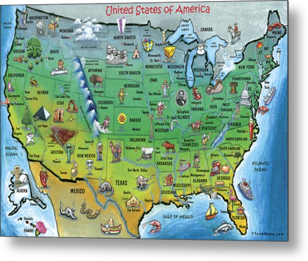 Usa Cartoon Map Metal Print