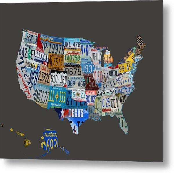 Usa License Tag Map 1b Metal Print