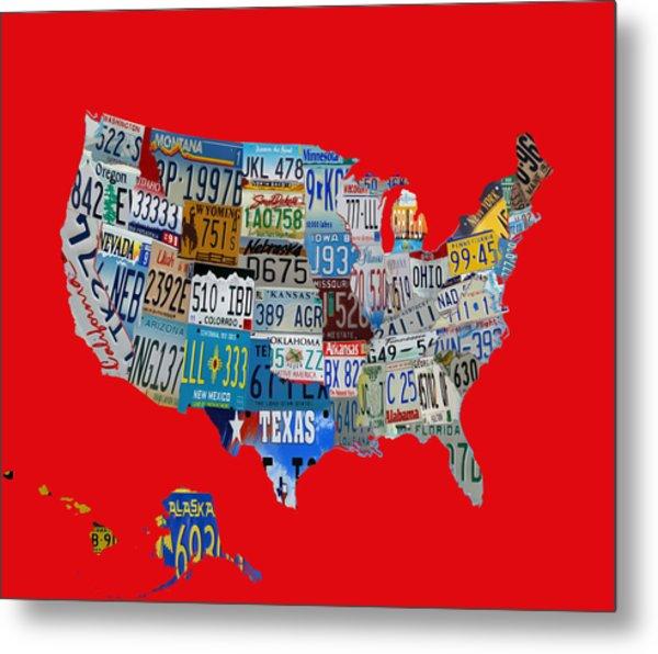 Usa License Tag Map 1c Metal Print