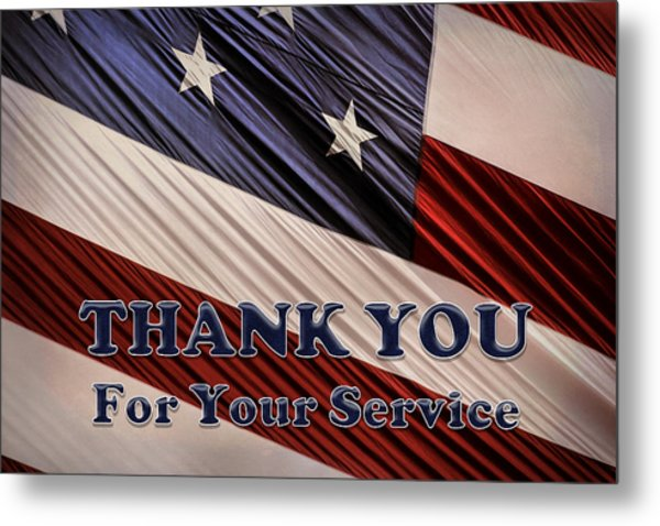 Usa Military Veterans Patriotic Flag Thank You Metal Print