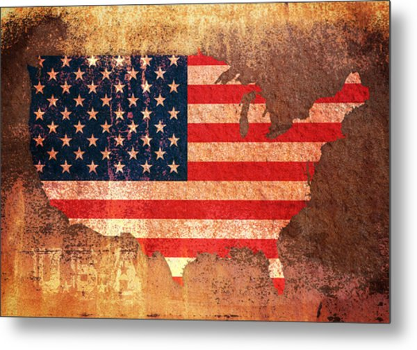 Usa Star And Stripes Map Metal Print