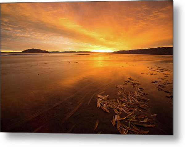 Utah Lake Sunset Metal Print