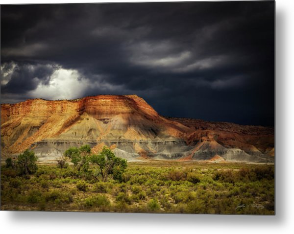 Utah Mountain With Storm Clouds Metal Print