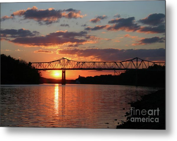 Utica Bridge Sunset Metal Print