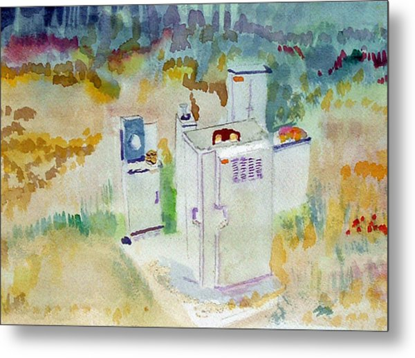 Utility Boxes Near A Forest Metal Print