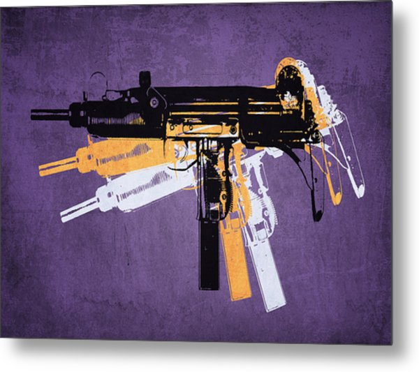 Uzi Sub Machine Gun On Purple Metal Print