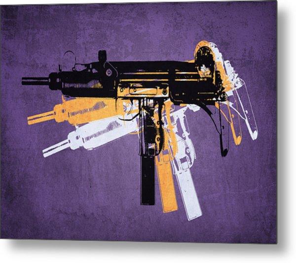 Uzi Sub Machine Gun On Purple Metal Print