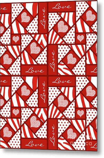 Valentine 4 Square Quilt Block Metal Print