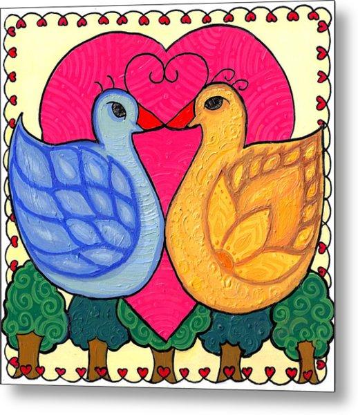 Valentine Birds Metal Print