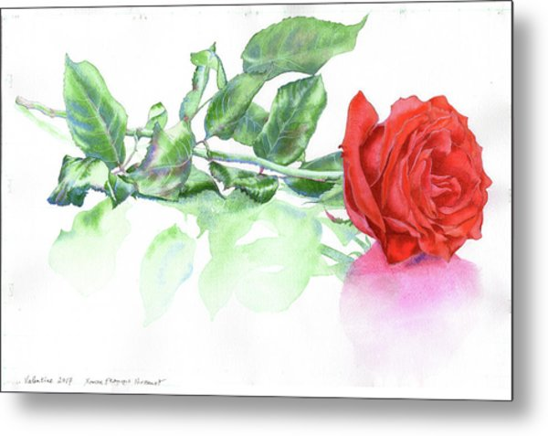 Metal Print featuring the painting Valentine Rose by Xavier Francois