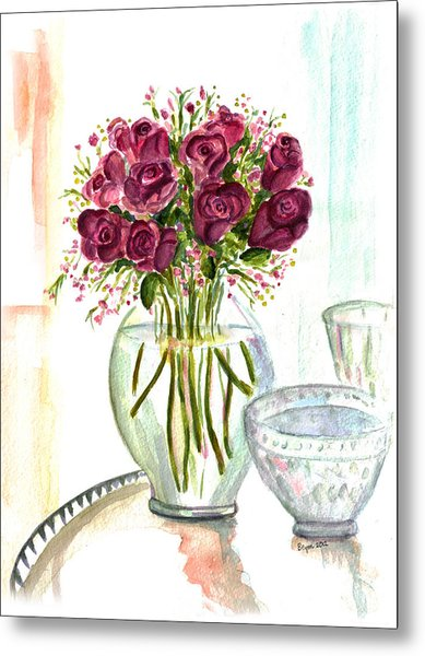 Valentines Crystal Rose Metal Print