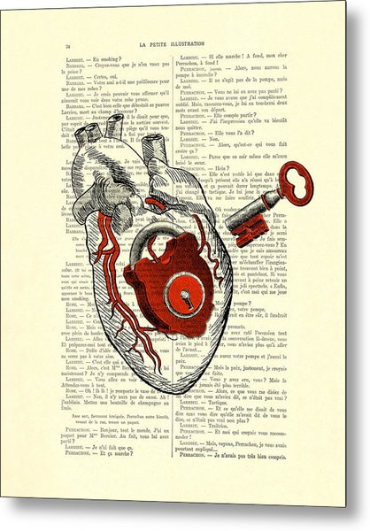 Valentine's Day Gift, Heart With Key Metal Print
