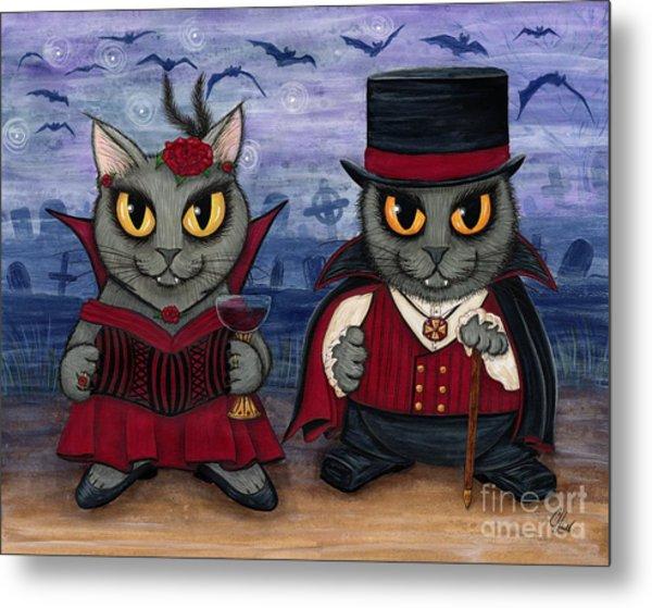 Vampire Cat Couple Metal Print