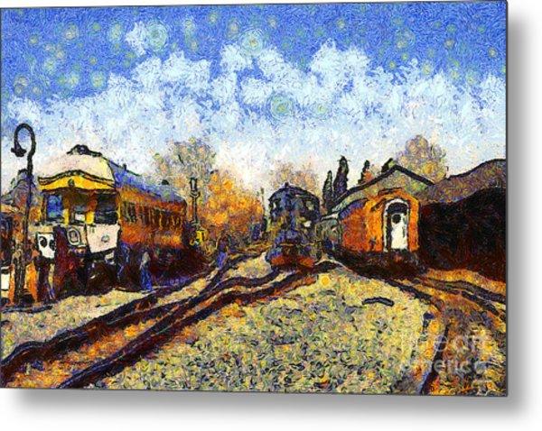 Van Gogh.s Train Station 7d11513 Metal Print