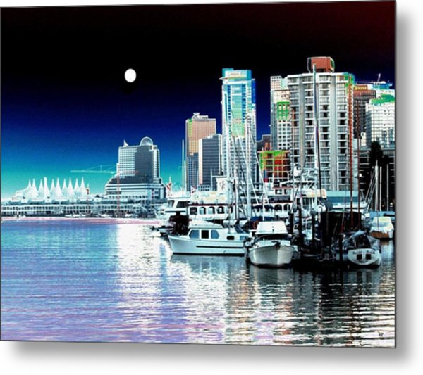 Vancouver Harbor Moonrise  Metal Print