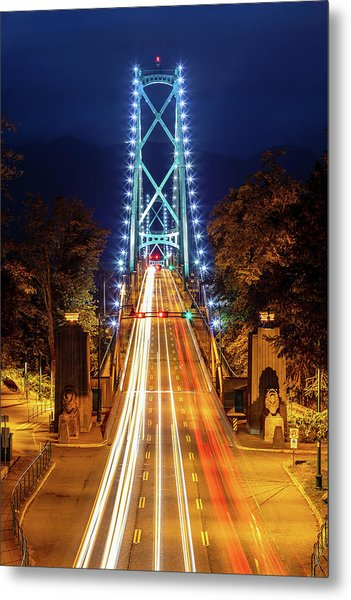 Metal Print featuring the photograph Vancouver Lions Gate Bridge At Night by Pierre Leclerc Photography