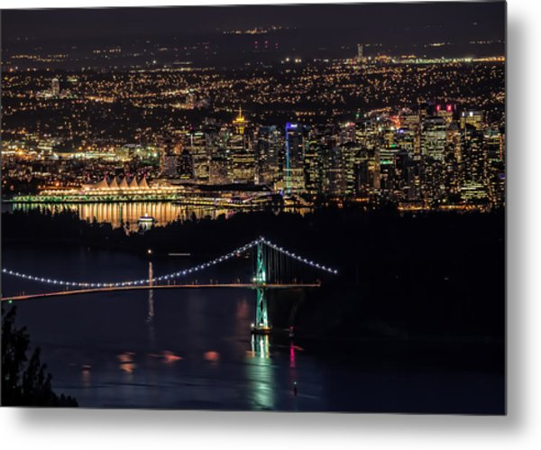 Vancouver Night From Cypress Mountain Metal Print