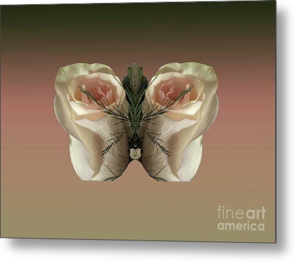 Vanilla Butterfly Rose Metal Print
