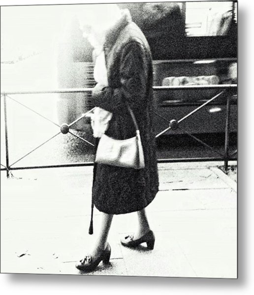 Vanishing Lady #woman #city #walking Metal Print