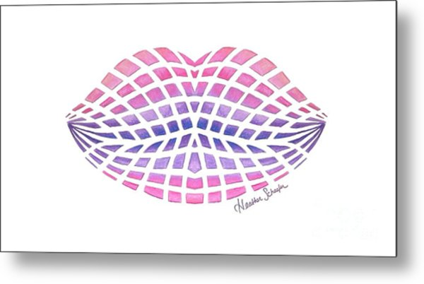 Vasarely Style Lips Metal Print