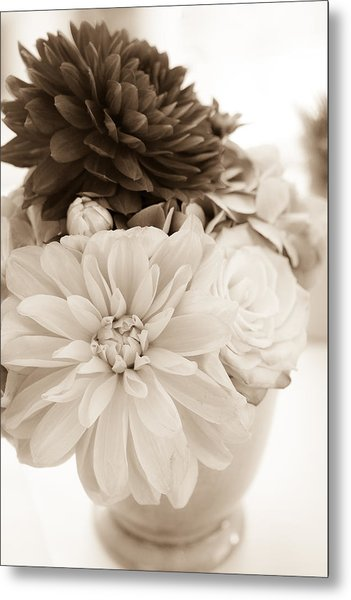 Vase Of Flowers In Sepia Metal Print