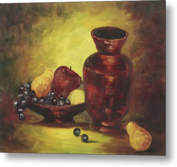 Vase With Fruit Bowl Metal Print by Cathy Robertson
