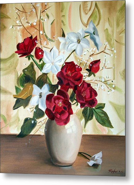 Vase With Red And White Flowers Metal Print
