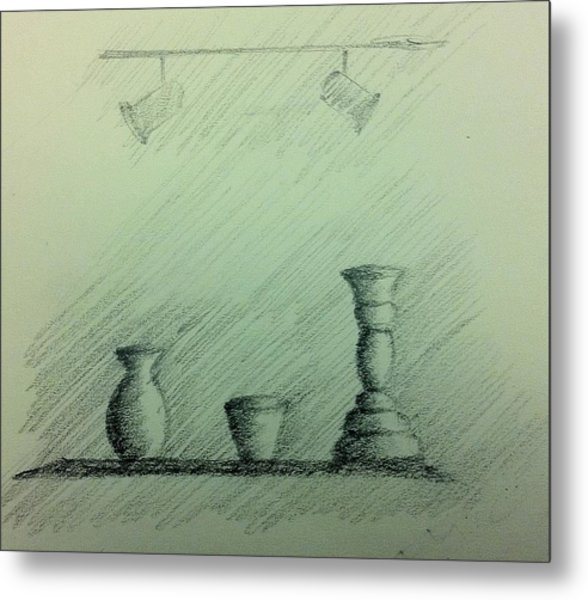Vases And Candle Stand Metal Print