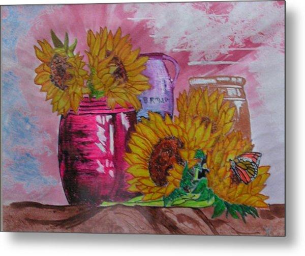 Vases With Flowers Metal Print by John Vandebrooke