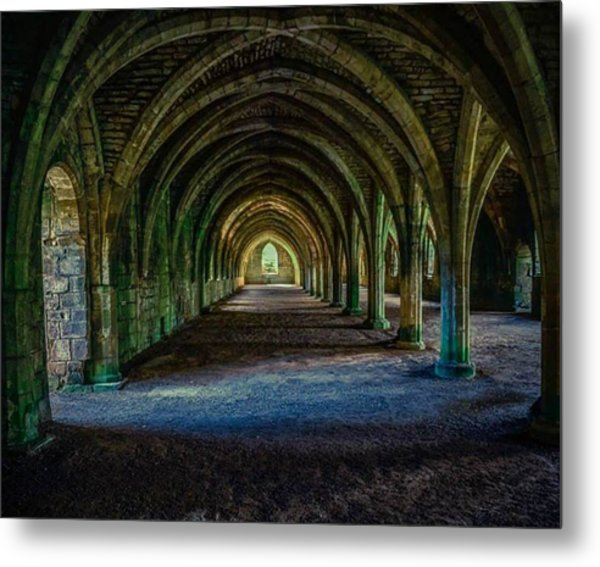 Vaulted, Fountains Abbey, Yorkshire, United Kingdom Metal Print