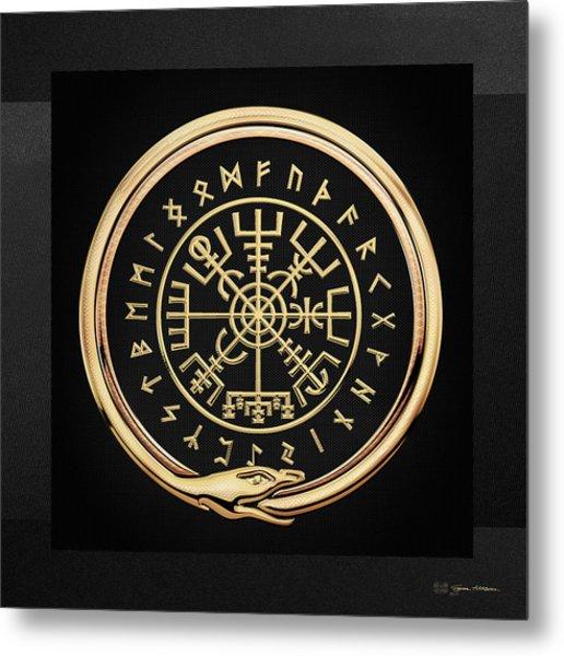 Vegvisir - A Magic Icelandic Viking Runic Compass - Gold On Black Metal Print