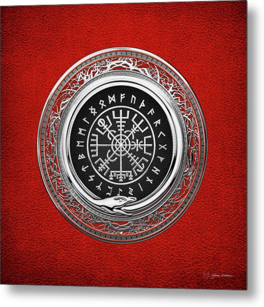 Vegvisir - A Silver Magic Viking Runic Compass On Red Leather  Metal Print