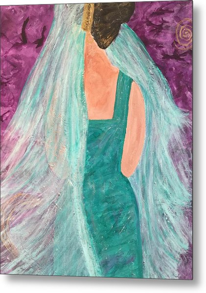Veiled In Teal Metal Print