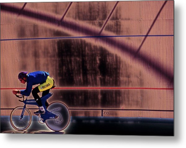 Velo Cyclist Metal Print