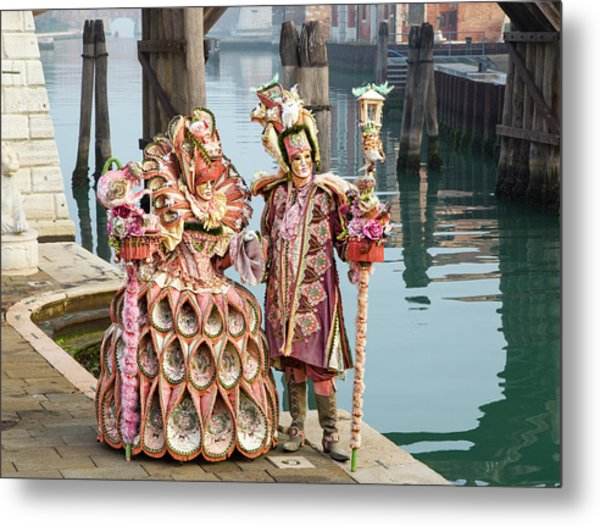 Venetian Couple Along The Canal Metal Print
