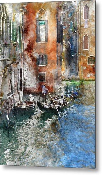 Venetian Gondolier In Venice Italy Metal Print