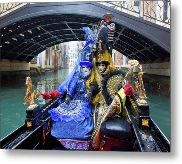 Venetian Ladies On A Gondola Metal Print