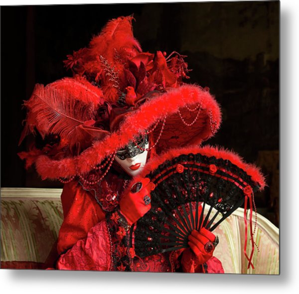 Venetian Lady In Red I  Metal Print