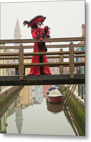 Venetian Lady On Bridge In Burano Metal Print