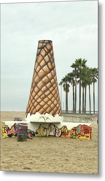 Venice Beach Ice Cream Cone Art Metal Print