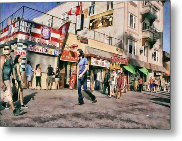 Venice Beach Walk Metal Print