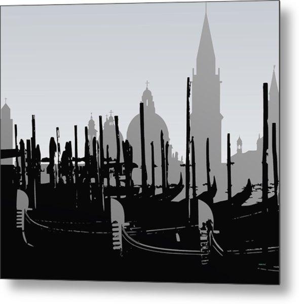 Metal Print featuring the digital art Venice Black And White by Alberto  RuiZ